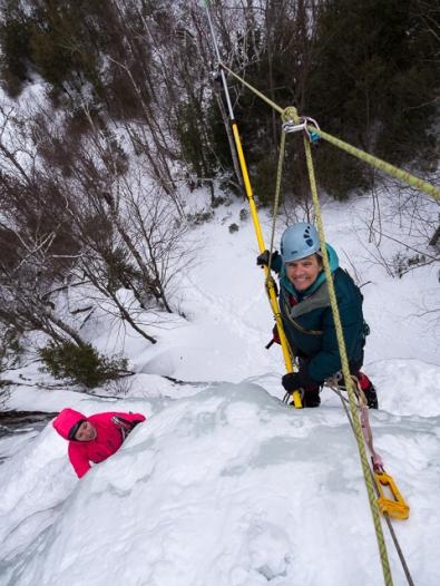 Karen Stolz and climber, Sabrina Hague